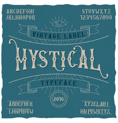 mystical label typeface poster vector image