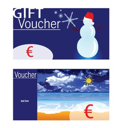 voucher for winter and summer with snowman and vector image