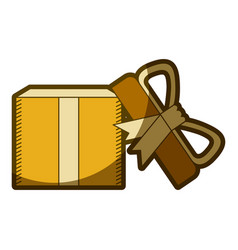 yellow aged silhouette of opened gift box with vector image vector image