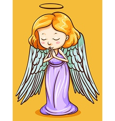 Angel with wings praying vector image vector image