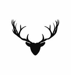 deer head with antlers silhouette black vector image