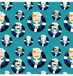 Different sailors seamless pattern in cartooning vector image vector image