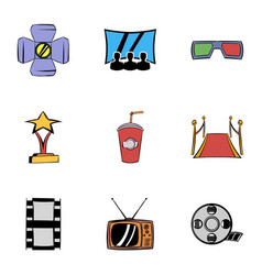 entertainment icons set cartoon style vector image vector image