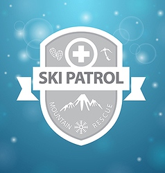 logotype mountain ski patrol rescue on blue vector image vector image