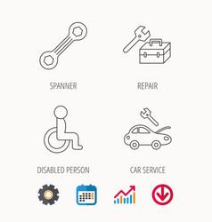 Repair toolbox spanner tool and car service vector