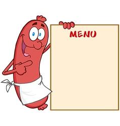 Sausage cartoon mascot character showing menu vector