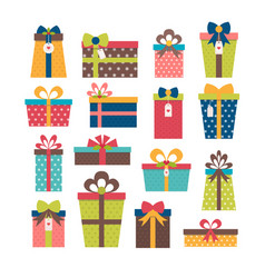 Set of different gift boxes colorful wrapped gift vector