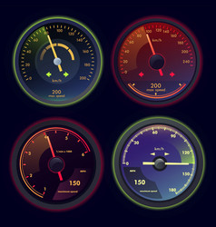 set of isolated speedometers for dashboard vector image vector image