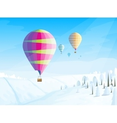 Winter landscape with flying balloons in the sky vector image vector image