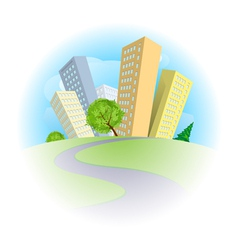 Abstract city on a green hill vector image