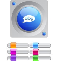 Blog color round button vector image vector image