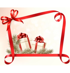 Christmas holiday background with gift ribbon with vector image vector image