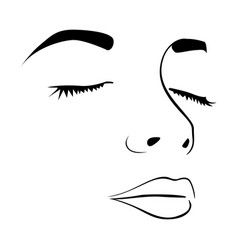 closeup sketch female face silhouette vector image
