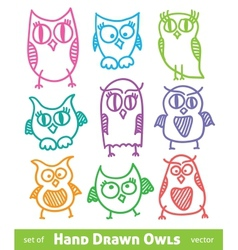 hand drawn owls vector image vector image