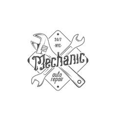 Vintage label design Mechanic auto repair patch vector image vector image