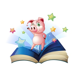 A book with an image of a pig dancing vector image vector image