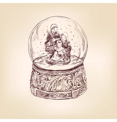 christmas snow globe hand drawn vector image vector image