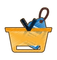 drawing basket buying online blue price tag vector image