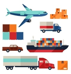 Freight cargo transport icons set in flat design vector image vector image