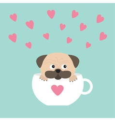 Pug dog mops paw sitting in white cup with heart vector image