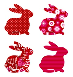 spring bunny set vector image vector image