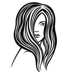 Young womans portrait lineart vector image vector image