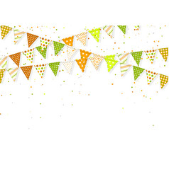 3d banting flags with confetti for indian holidays vector image
