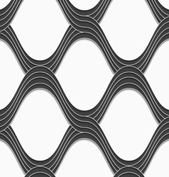 3D gray overlapping waves on white vector image
