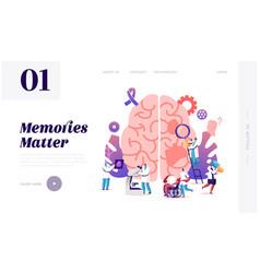 Alzheimer disease website landing page tiny vector