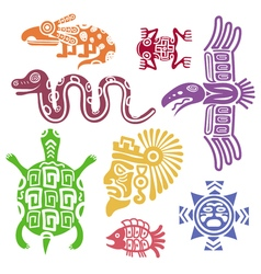 ancient mexican symbols mayan culture indian vector image