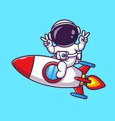 Astronaut riding rocket with peace hand cartoon vector