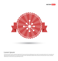 atom physics symbol - red ribbon banner vector image