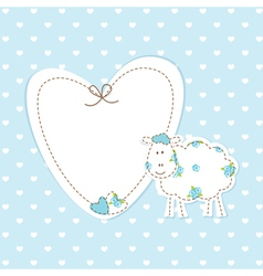 Baby blue background with sheep vector