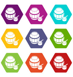barrel honey icons set 9 vector image