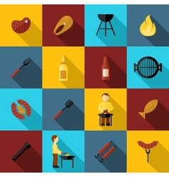 Bbq Grill Icon Flat vector image