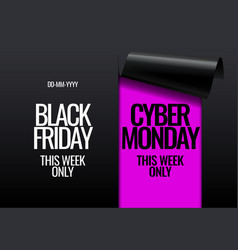 black friday and cyber monday promotion banner vector image