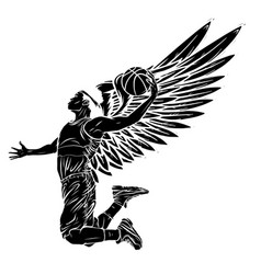 Black silhouette basketball player jumping vector
