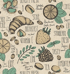 Breakfast sketched set vector image