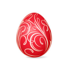 bright red easter egg with decorative floral vector image