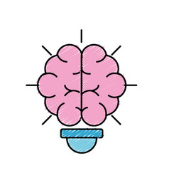 bulb with brain inside to creative design vector image