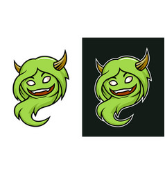 Cartoon female troll monster character with horns vector