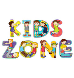 Children on kids zone symbol vector