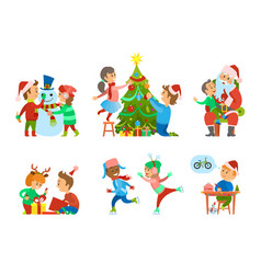 Christmas holidays children hobbies and pastime vector