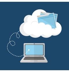 Cloud computing laptop web hosting design vector image