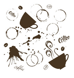 Coffee stains set vector