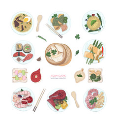 collection of hand drawn colorful dishes of asian vector image
