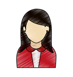 Color pencil half body faceless woman with vector