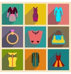 Concept of flat icons with long shadow clothes vector