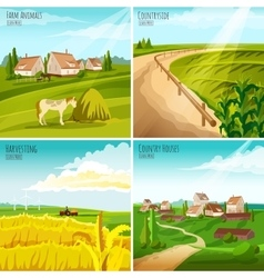 Countryside 4 flat pictograms square composition vector