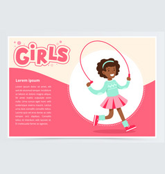 Cute african girl jumping with skipping rope vector